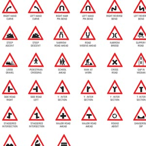 Road sign board driving course
