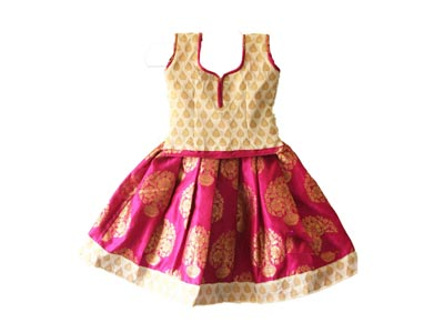 Kids Traditional pattu pavadai designer